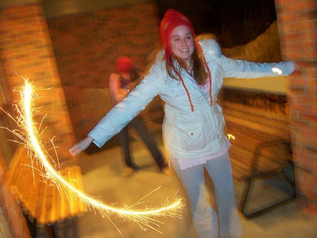 Rachel does a Sparkler Dance